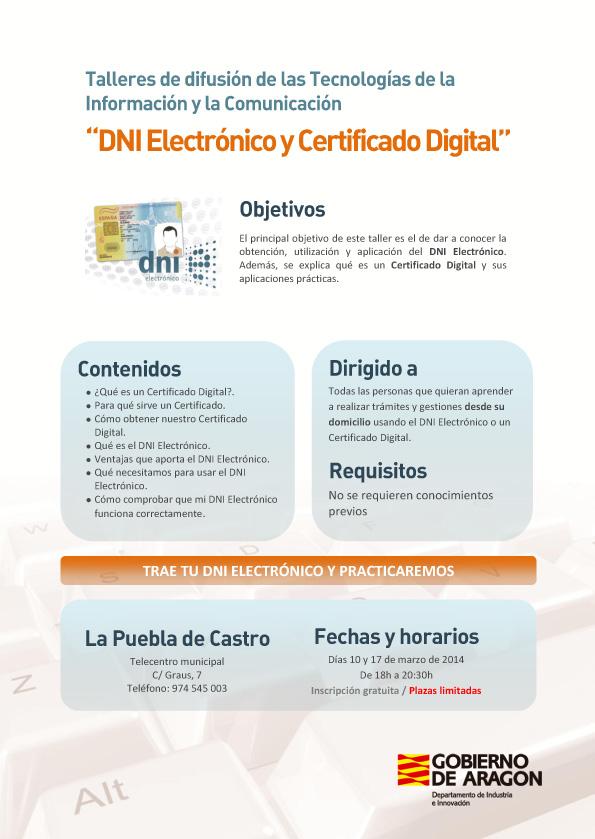 En La Puebla de castro, Taller de DNI Electronico y Certificado Digital